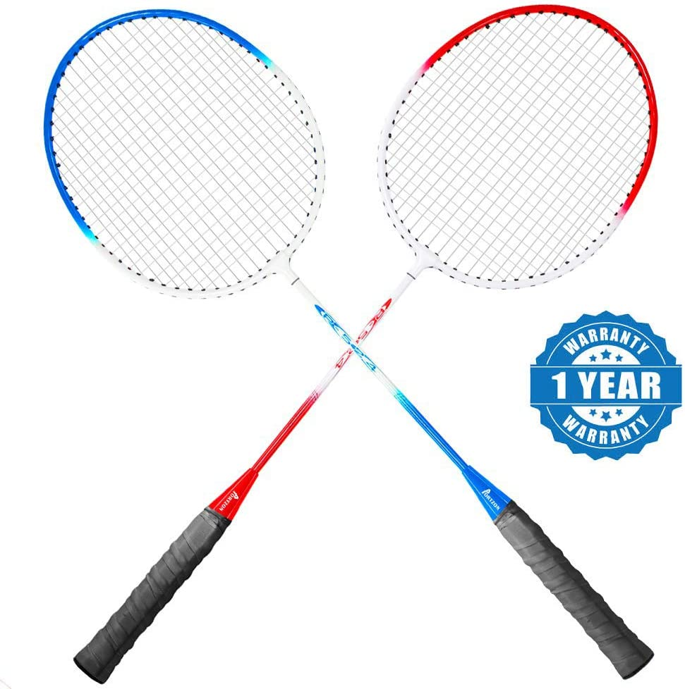 Lightweight /& Sturdy Perfect for Beginner Portzon 2 Player Badminton Racquets Set,Double Rackets