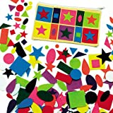 Baker Ross Self-Adhesive Felt Shapes for Children's Collage, Card Making, Scrapbooking - Pack of 195