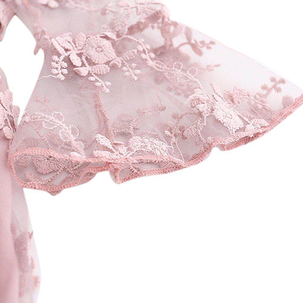 Brightup Ragazzi Ragazze Pizzo Volant Maniche Ricamo Abito Bianco//Rosa Partito Vestito Vestito Estivo Vacanze Beach Dress per 2-6 Anni