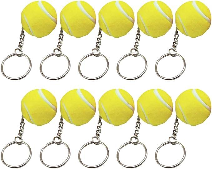 NUOBESTY llaveros de Pelota de Tenis Amarilla Llavero Colgante de Pelota de Tenis para favores de Fiesta recompensa de Carnaval Escolar Rellenos de Regalo de Bolsa de Fiesta Paquete de 10: Amazon.es: