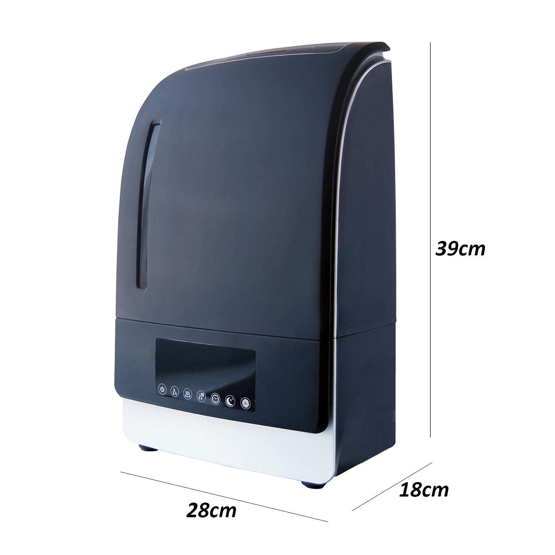 spegnimento automatico modalit/à notte silenziosa vapore caldo e freddo con display LED Umidificatore elettrico 6L ultrasuoni diffusore evaporatore ionizzazione fino a 40 m2