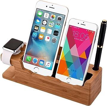 Soporte de cargador para iPhone, XPhonew Soporte de bambú Cargador ...