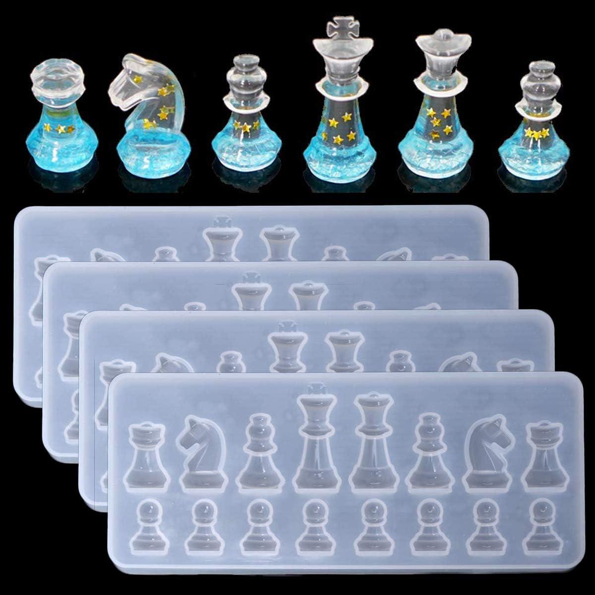 moldes de resina de ajedrez internacional pack 4 unidades
