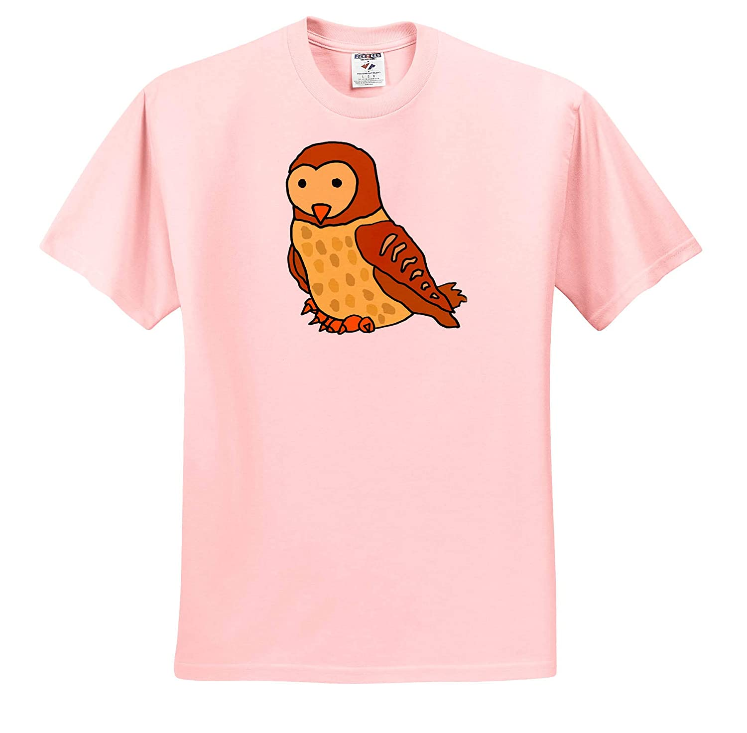 3dRose All Smiles Art Cute Funny Unique Barn Owl Cartoon Birds T-Shirts