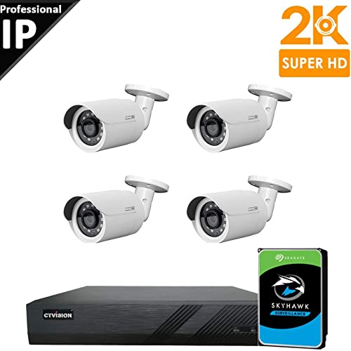 CTVISION Ultra HD 5MP 2.5X1080P Home Business Security Camera Systems,4-Channel PoE Video Security System 2TB HDD ,4pcs 5MP Outdoor Weatherproof Nightvision PoE Bullet IP Security Camera