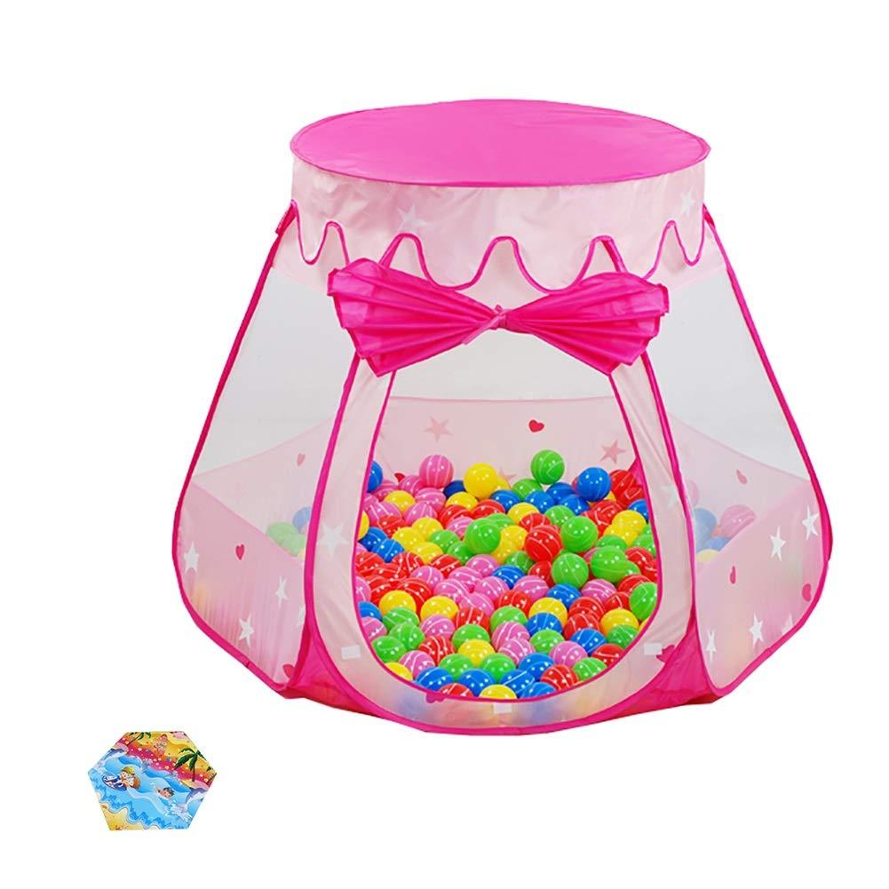 ベビーサークル 屋内ベビープレイテント、ホームプリンセスプレイハウスプレイハウスクロールマットと女の子ボーイズのための200ボールで (色 : Pink)  Pink B07KWRYMSP