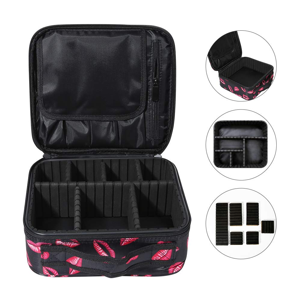 Docolor Travel Makeup Train Case Makeup Cosmetic Case Professional Organizer Portable Makeup Artist Storage Bag with Adjustable Dividers for Makeup Brushes Toiletry Jewelry Digital Accessories