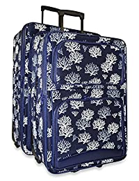 Ever Moda 2-Piece Luggage Set with Wheels, Rolling Suitcase, Navy Seaweed