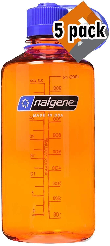Nalgene Tritan Narrow Mouth BPA-Free Water Bottle (Orange w/Blue Cap, 5 Pack (32-Ounce))