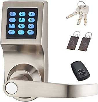 HAIFUAN Digital Door Lock,Unlock with Remote Control, M1 Card, Code and Key,Handle Direction Reversible