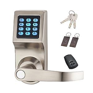 HAIFUAN Digital Door Lock,Unlock with Remote Control, M1 Card, Code and Key,Handle Direction Reversible