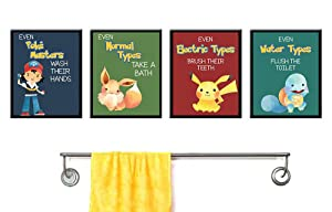 Silly Goose Gifts Even Electric Types Brush Teeth Take A Bath Wash Hands Bathroom Wall Art Decor (Set of Four)