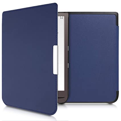 kwmobile Case for Pocketbook InkPad 3 - Book Style PU Leather Protective  e-Reader Cover Folio Case - Dark Blue