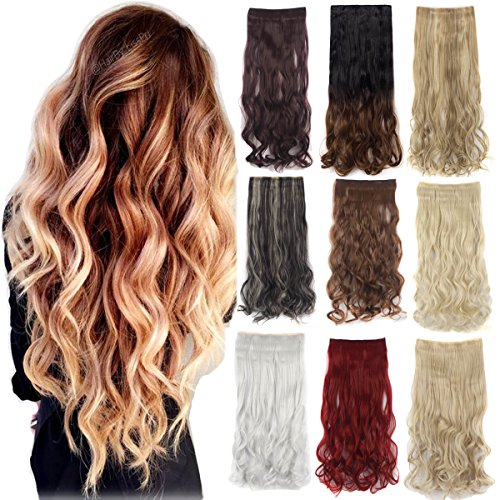 Clip In Synthetic Hair extension One Piece 5 Clips 3/4 Full Head Natural Long Curly Wave Soft Hair Easy To - Is How Shipping First Class Long