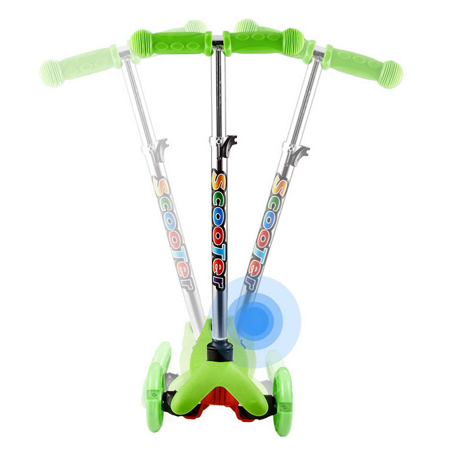 Lululy Kids Scooter Children 3 Wheel Adjustable Height Kick Scooter with Flashing PU Wheels for Kids Children Aged 2-8