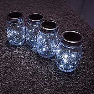 GreenDream 12 Pack Solar Mason Jar Lid Insert (Mason Jar not Included), 10 LED Solar Fairy White Light for Glass Mason Jars and Garden Decor Solar Lights (White)