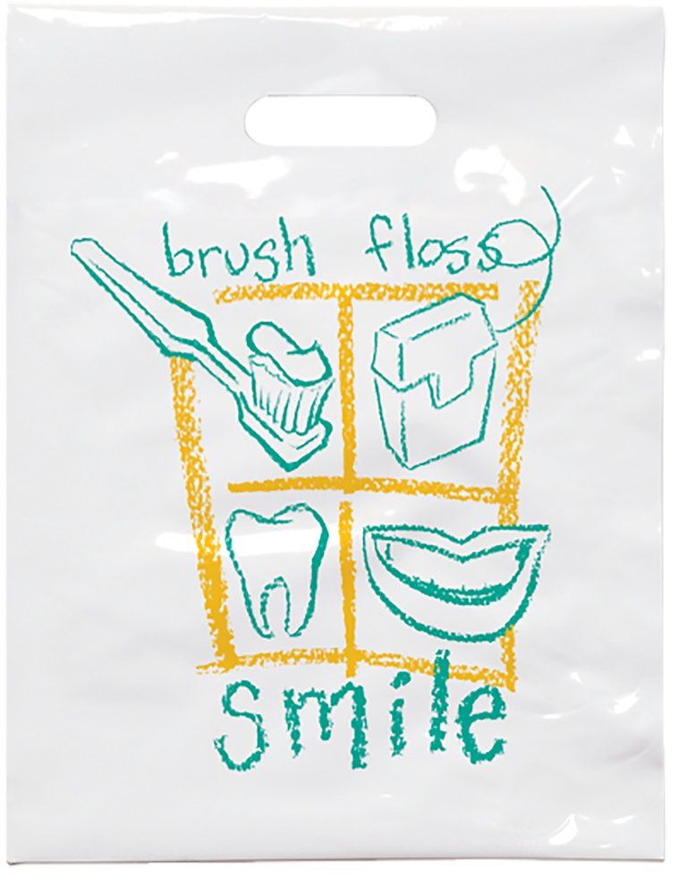 Practicon 1109612 Brush Floss B Patient Care Bags, 7-3/4'' x 9'' (Pack of 100)