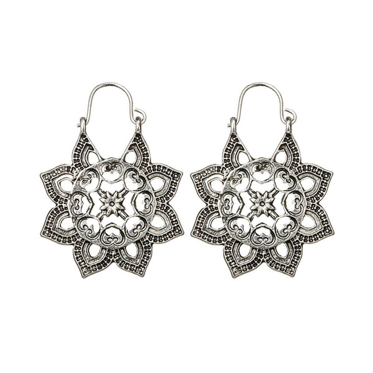 Ear Cuffs Hoop Fzitimx Antique Silver Gypsy Indian Tribal Ethnic Hoop Dangle Mandala Earrings Boho