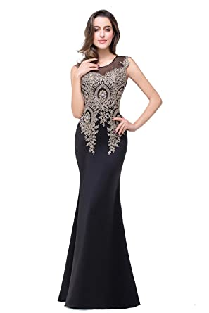 96c4799d12 Women s Crystal Lace Sleeveless Long Prom Dress Formal Evening Gowns Black  US2