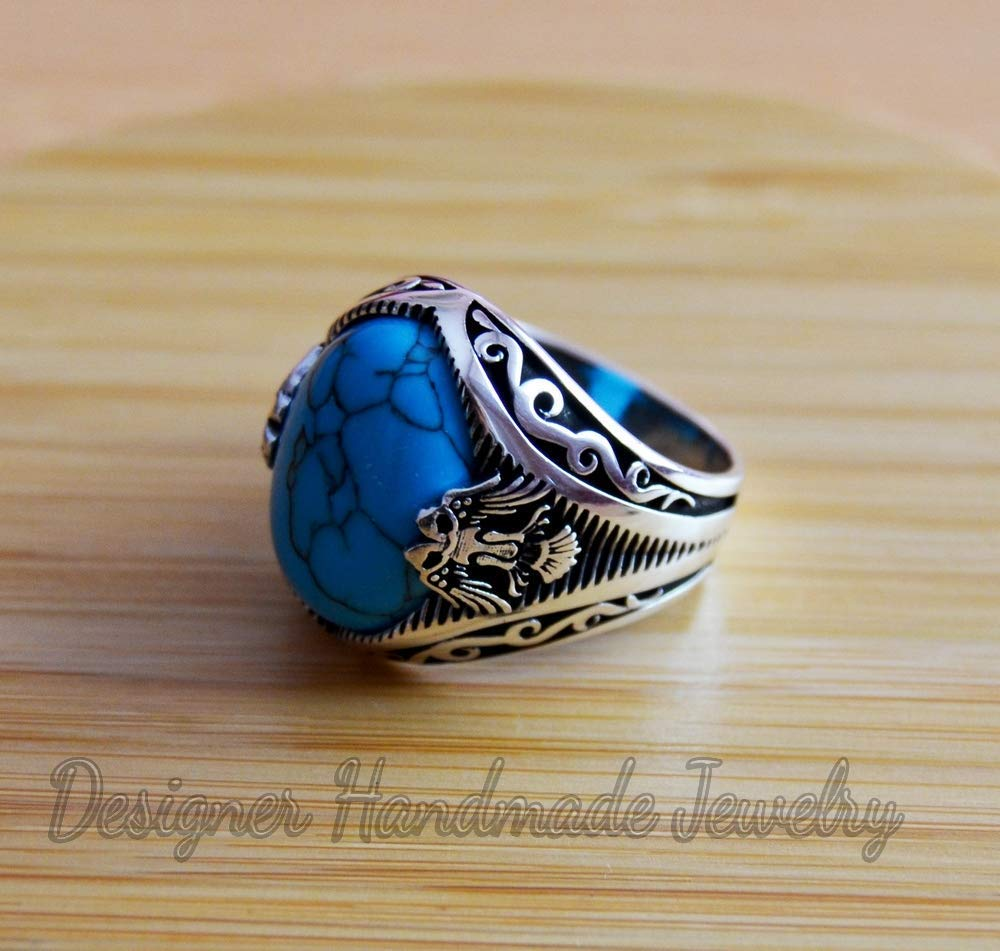 Man Gemstone Ring Oval Turquoise Gemstone Ring Statement Ring for Man Turquoise Sterling Silver Ring Jewelry Gift for Him