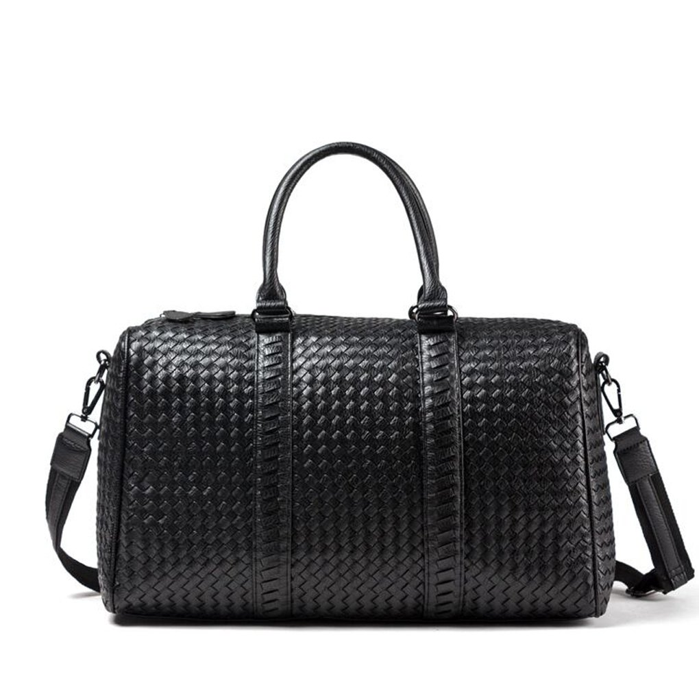 Handmade weave PU Travel duffle weekend bag purse for women large capacity bag suitable for overnight luggage Vacation bag black color