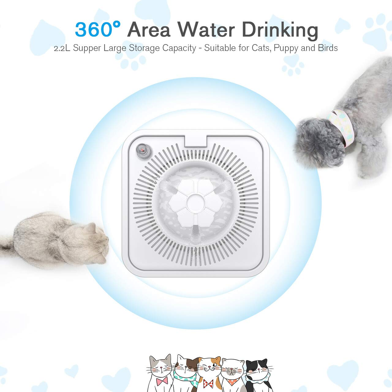 isYoung Pet Fountain, 84oz/2.5L Super Quiet Automatic Cat Water Fountain Dog Water Dispenser with 5 Replacement Filters and Cleaning Brushes for Cats, Dogs, Multiple Pets
