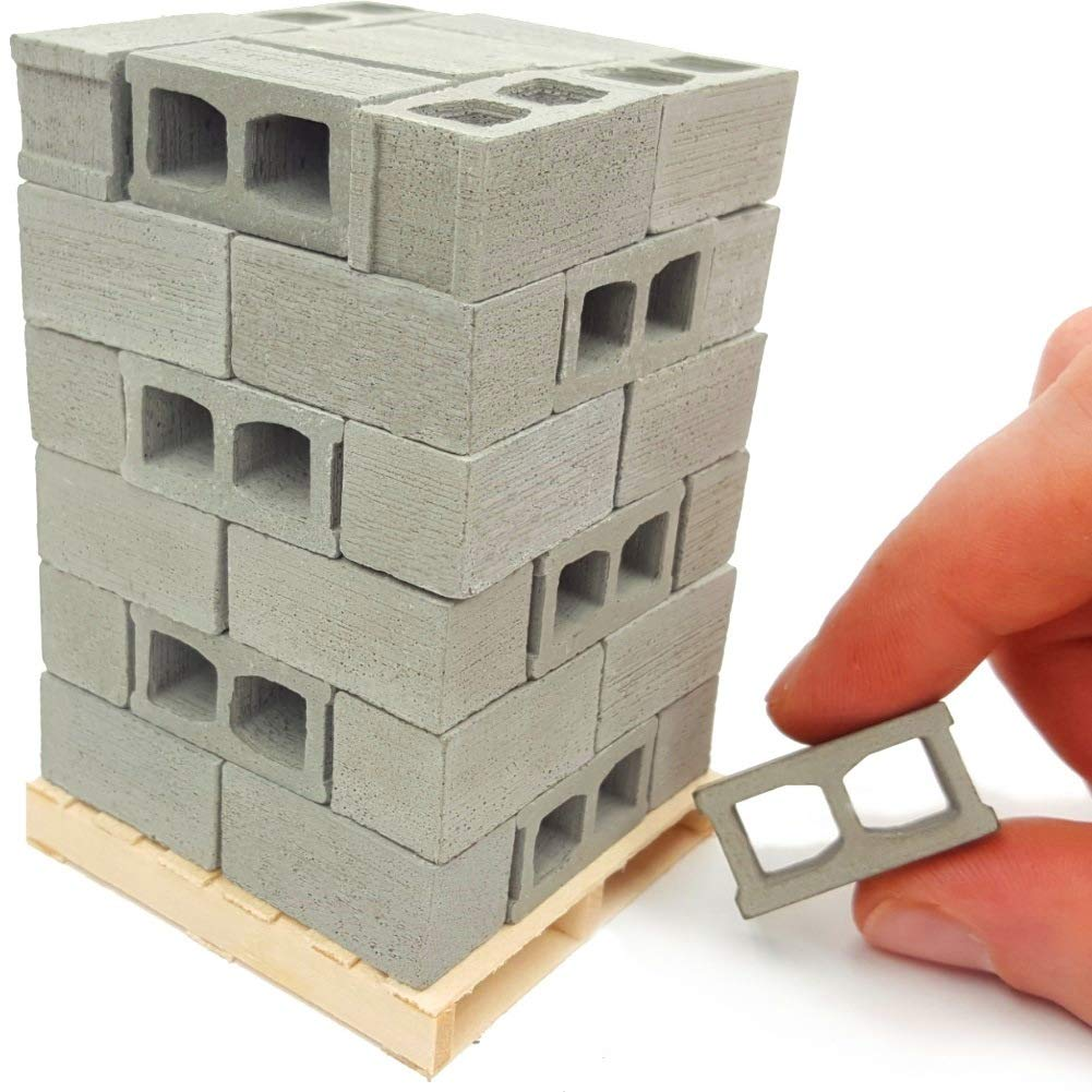 Acacia Grove Mini Cinder Blocks with Pallet, 48 Pack, 1/12 Scale