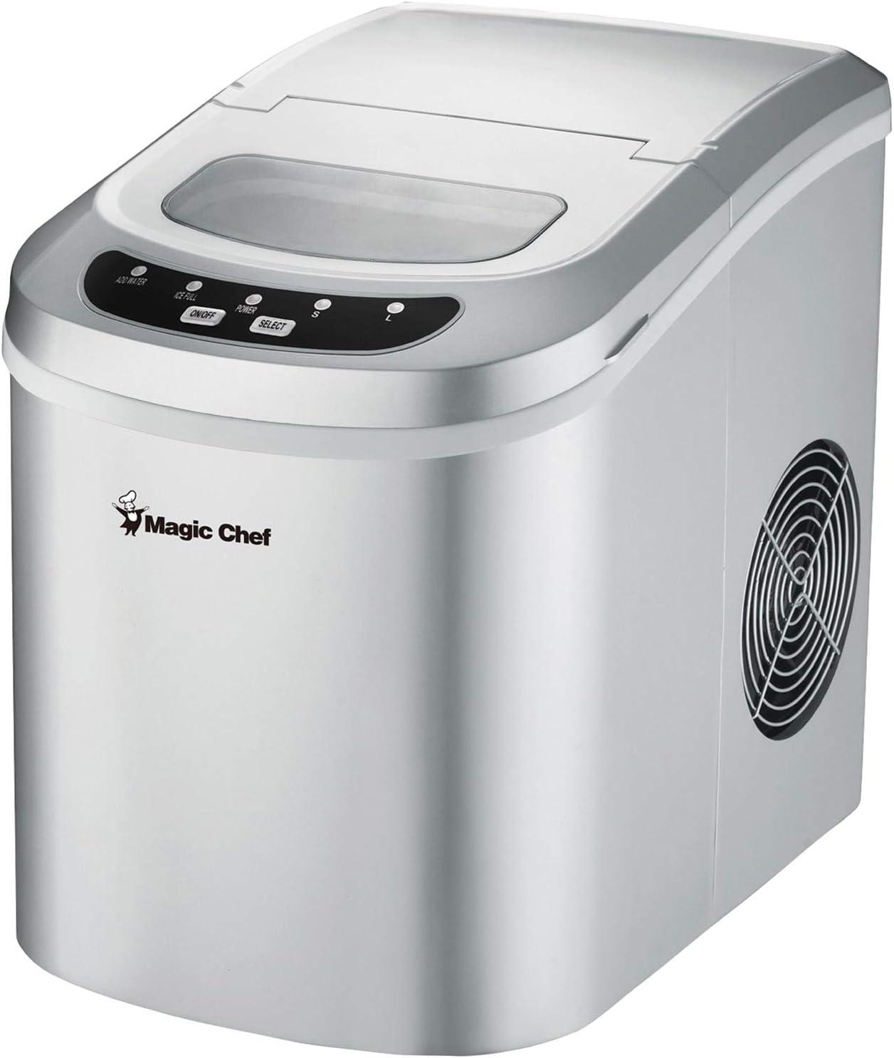 Magic Chef MCIM22SV Portable Mini Ice Maker 27lb-Capacity Silver Home & Garden