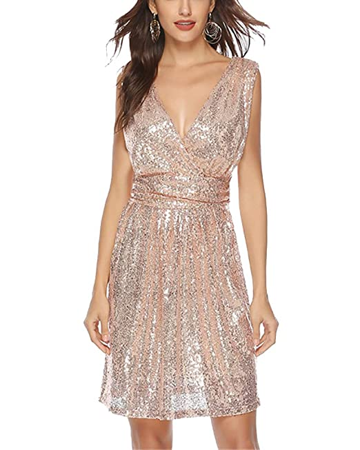 144d74bb54f3 WDREAM Women Short Prom Dress Sequin Bridesmaid Sleeveless Evening Dresses:  Amazon.ca: Clothing & Accessories