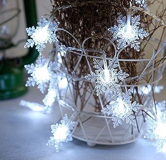 Batterie Weihnachtsbeleuchtung Aussen.Tekhome Weihnachtsbeleuchtung Innen Außen Schneeflocke Lichterkette