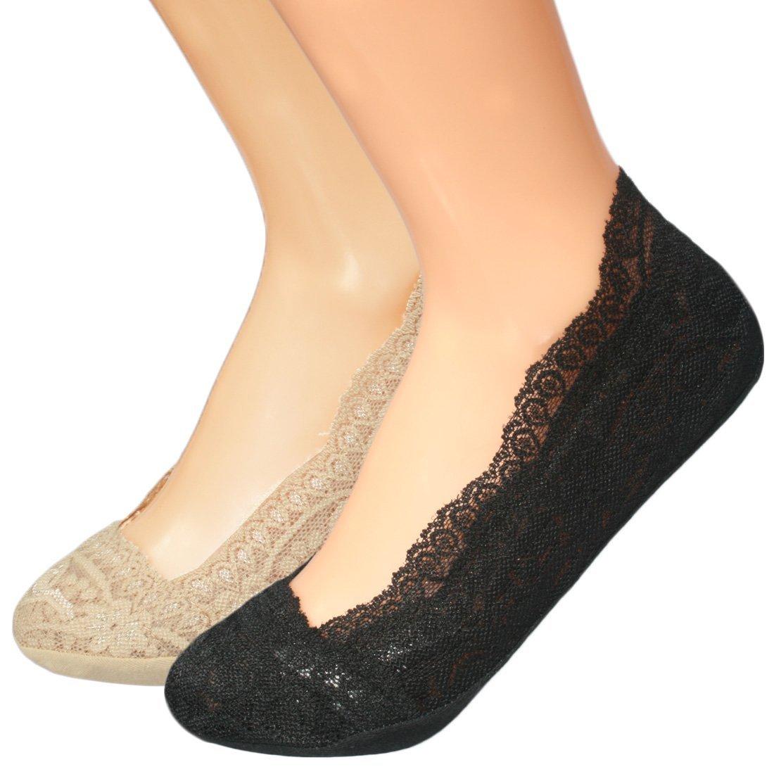 kilofly No Show Full Cuff Silicone Grip Non-Skid Socks [Set of 2, Black & Beige] FTW364set2