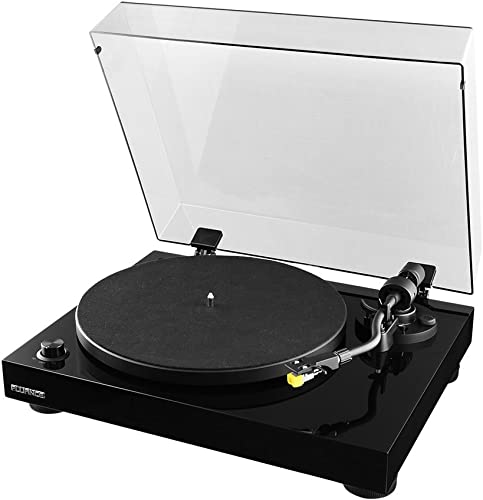 Fluance RT80 Classic High Fidelity Vinyl Turntable Record Player with Audio Technica AT91 Cartridge, Belt Drive, Built-in Preamp, Adjustable Counterweight, Solid Wood Plinth – Piano Black