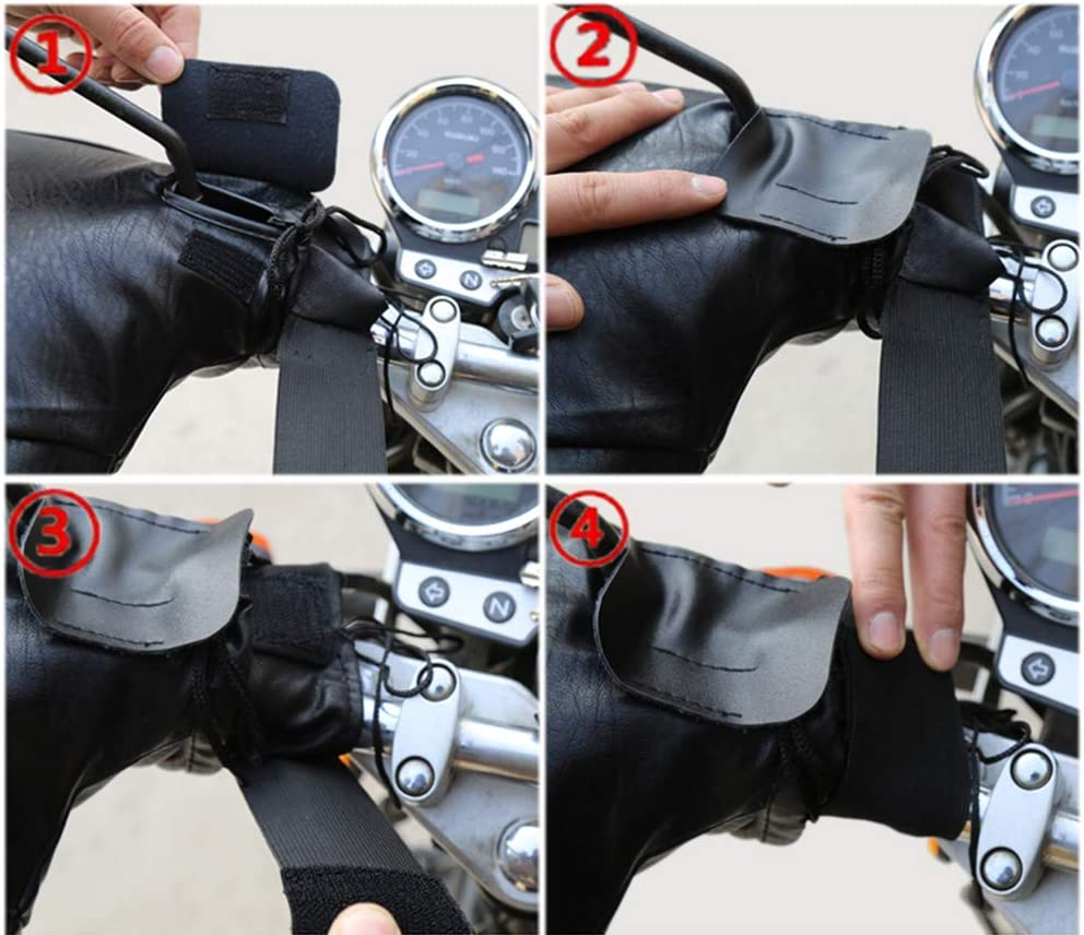 MIAOZHANG Motorbike Gloves Handlebar Muffs Winter Motorcycle Gloves with Reflective Strip Leather Warm Waterproof Cold-proof Windproof Thermal Thickened Protection for Scooter Motocross