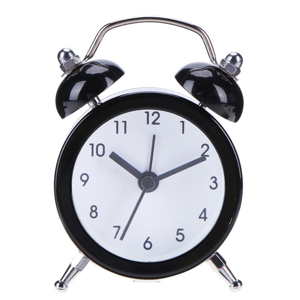 Demiawaking Mini Sveglia da Comodino Classico Sveglia Portatile Rotonda di Numero Quadrante in Metallo per Bambini (Viola)