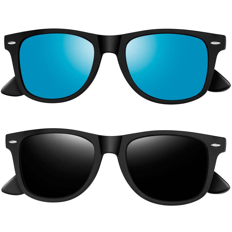 Joopin Polarized Sunglasses for Women - 2 Pack Retro Brand Designer Mens Sunglasses (Black+Blue)