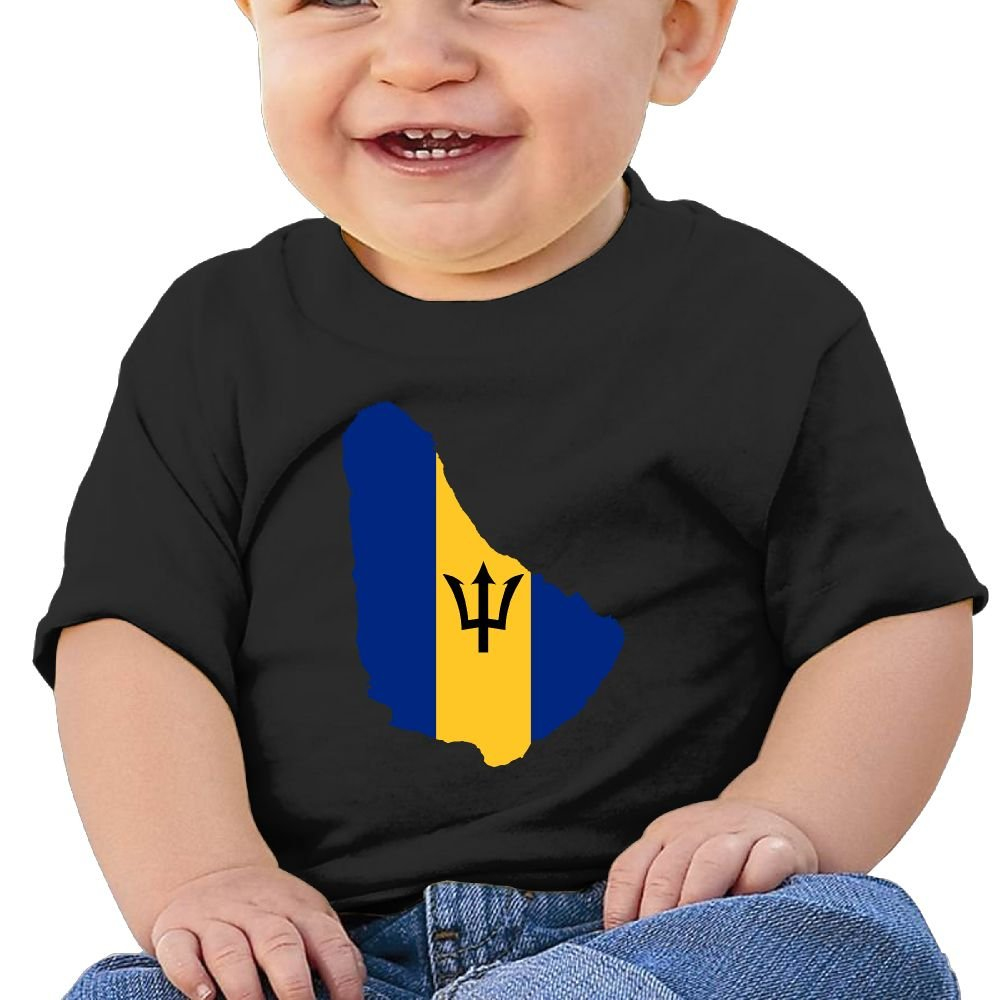 Zuwnqsw Baby Flag of Barbados Unisex Infants Crew Neck Short Sleeve Tee Black