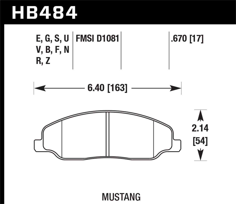Hawk Performance HB484B.670 HPS 5.0 Disc Brake Pad