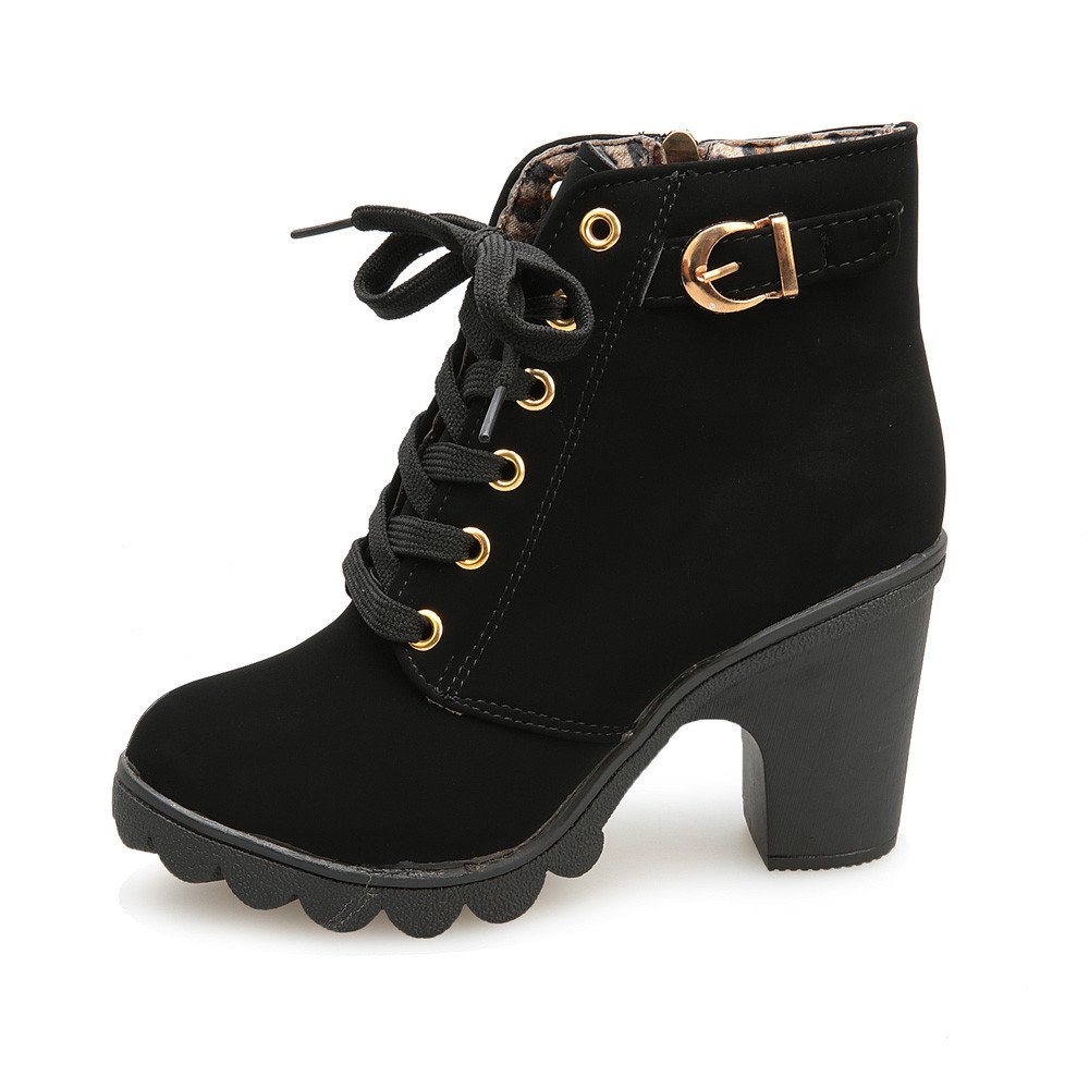 Londony ♪✿ Clearance Sales,Women's Lace Up Cross Ankle Bootie Western Mid Heel Bootie Closed Pointed Toe Boot