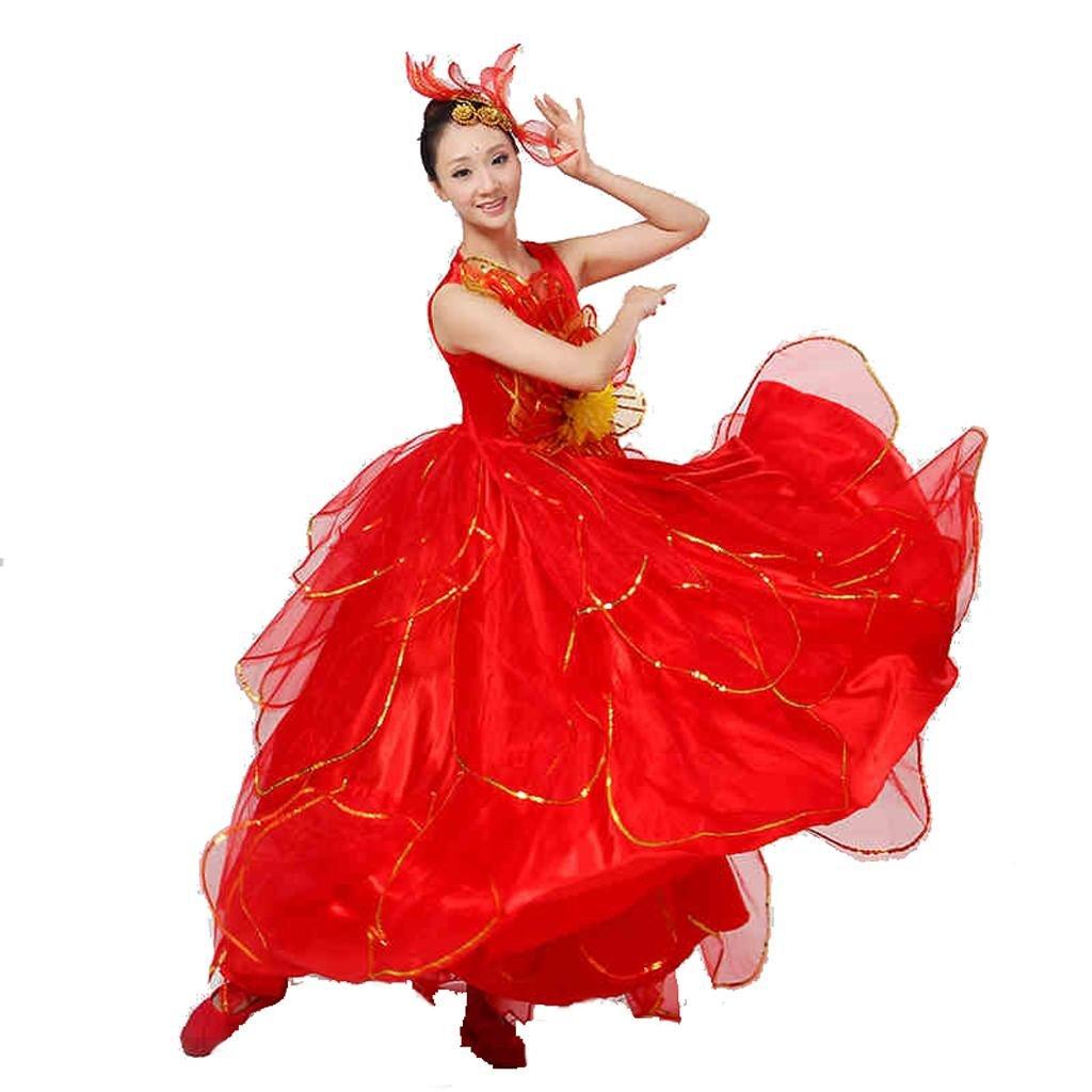 rouge XL Wgwioo Longue Robe Jupe Perforhommece Costumes Ouverture Danse big Swing Chorus Modern femmes Stage Pratique des VêteHommests