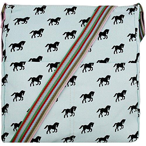 Ladies Horse Canvas Satchel Messenger Saddle Shoulder School Cross Body Bag Messenger Light Blue