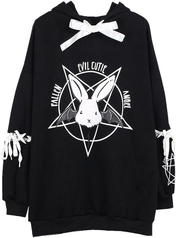 Harajuku Devil Print Sweatshirt Women White Pullover Top Casual Jumper Spring