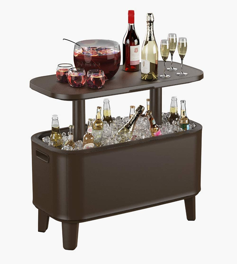 Keter Breeze Bar Outdoor Patio Furniture and Hot Tub Side Table with 17 Gallon Beer and Wine Cooler, Espresso Brown