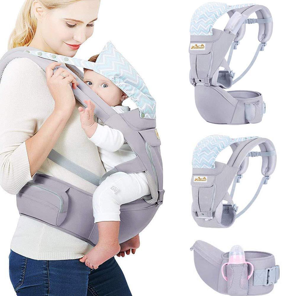 Viedouce Babytrage Ergonomische mit H/üftsitz//Reine Baumwolle Leicht und atmungsaktiv//Multiposition:Dorsal Einstellbar f/ür Neugeborene und Kleinkinder von 0 bis 4 Jahren 3,5 bis 20 kg Ventral