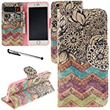iphone6 cover card holder - Urvoix iPhone 6 / iPhone 6S Case, Card Holder Stand Leather Wallet Case - Flower Wave Flip Cover for 4.7