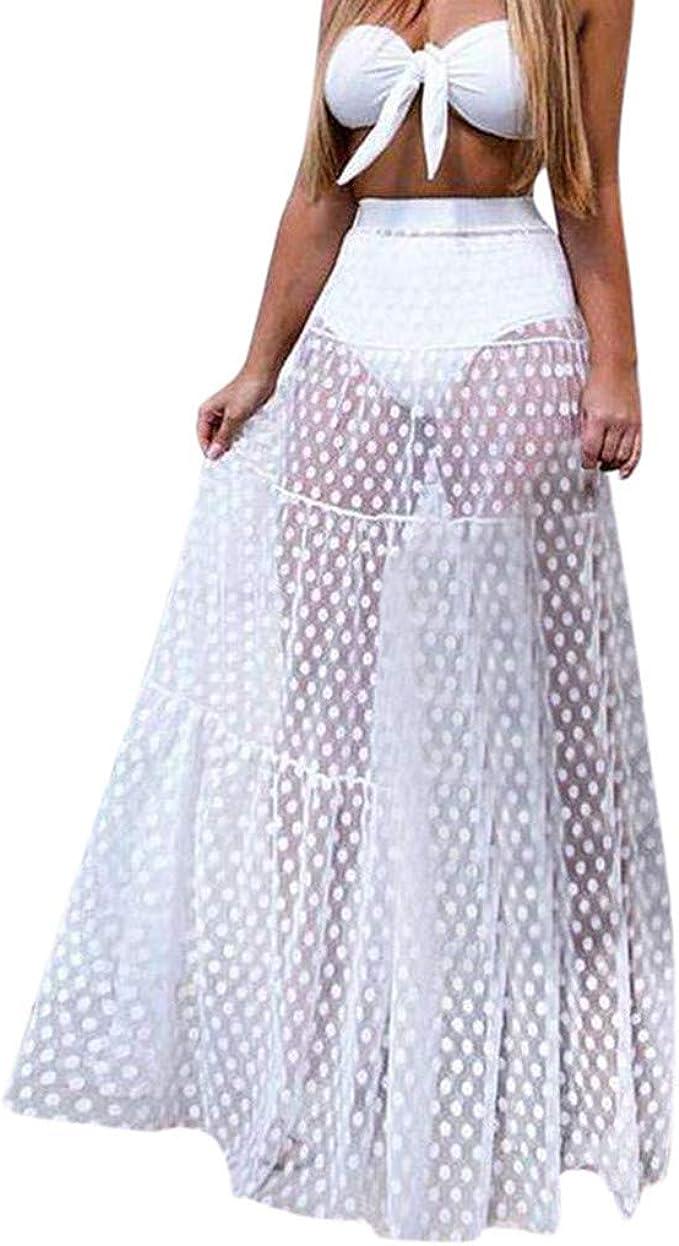 Keepfit - Falda Larga de Malla translúcida para Mujer - Blanco ...