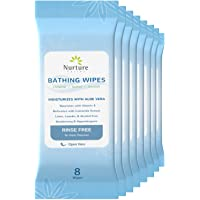 No Rinse Bathing Wipes (8-Pack) | 64 Microwavable Adult Wash Cloths with Aloe Vera and Vitamin E - Rinse Free Cleansing…