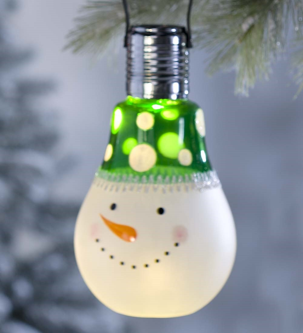 Solar Holiday Character Glass Bulb Ornament, Snowman
