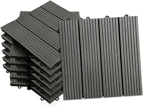 HENGMEI Set de 11 (1m²) Baldosas para Suelos Baldosas 30x30cm WPC Terraza losetas de jardín interior y exterior, Antracita: Amazon.es: Bricolaje y herramientas