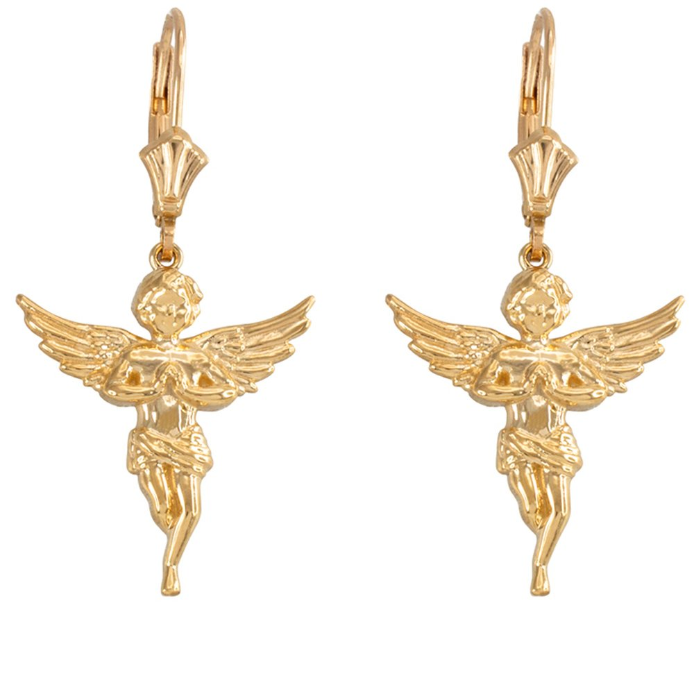 Praying Angel Leverback Earrings in Textured 14k Yellow Gold
