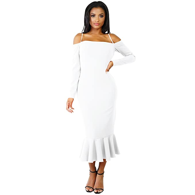 Women  Elegant Sexy Off Shoulder Neck Sling Mermaid Midi Dance Bodycon Dress  (Small 0c8e77555